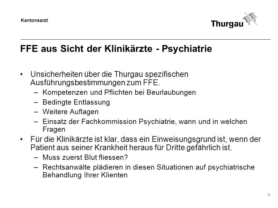 Kantonsarzt 10 FFE aus Sicht der Klinikärzte - Psychiatrie Unsicherheiten über die Thurgau spezifischen Ausführungsbestimmungen zum FFE. –Kompetenzen