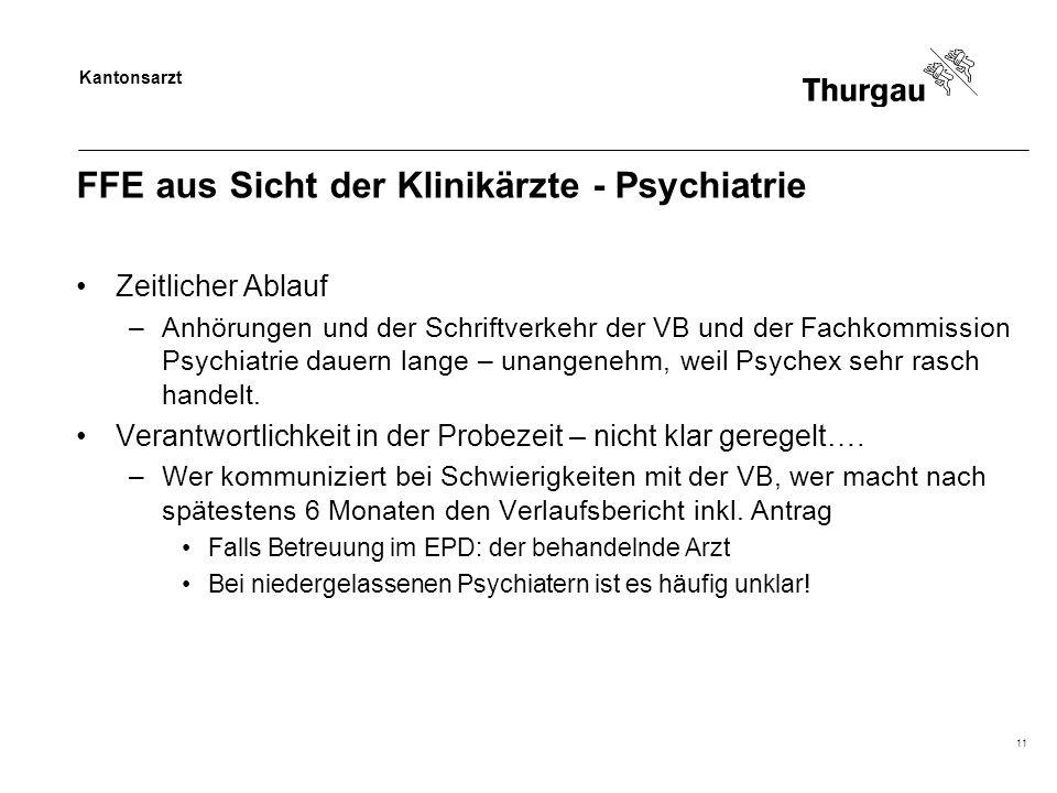 Kantonsarzt 11 FFE aus Sicht der Klinikärzte - Psychiatrie Zeitlicher Ablauf –Anhörungen und der Schriftverkehr der VB und der Fachkommission Psychiatrie dauern lange – unangenehm, weil Psychex sehr rasch handelt.