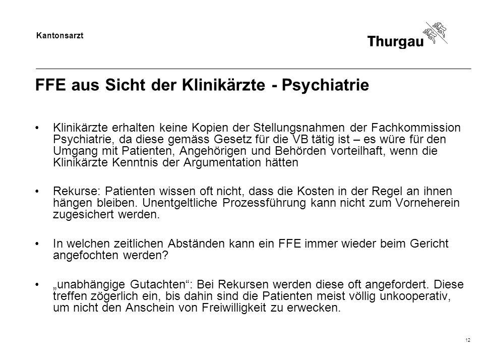 Kantonsarzt 12 FFE aus Sicht der Klinikärzte - Psychiatrie Klinikärzte erhalten keine Kopien der Stellungsnahmen der Fachkommission Psychiatrie, da di