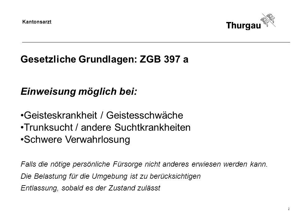 Kantonsarzt 2 Gesetzliche Grundlagen: ZGB 397 a Einweisung möglich bei: Geisteskrankheit / Geistesschwäche Trunksucht / andere Suchtkrankheiten Schwer