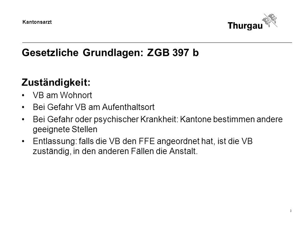 Kantonsarzt 3 Gesetzliche Grundlagen: ZGB 397 b Zuständigkeit: VB am Wohnort Bei Gefahr VB am Aufenthaltsort Bei Gefahr oder psychischer Krankheit: Ka
