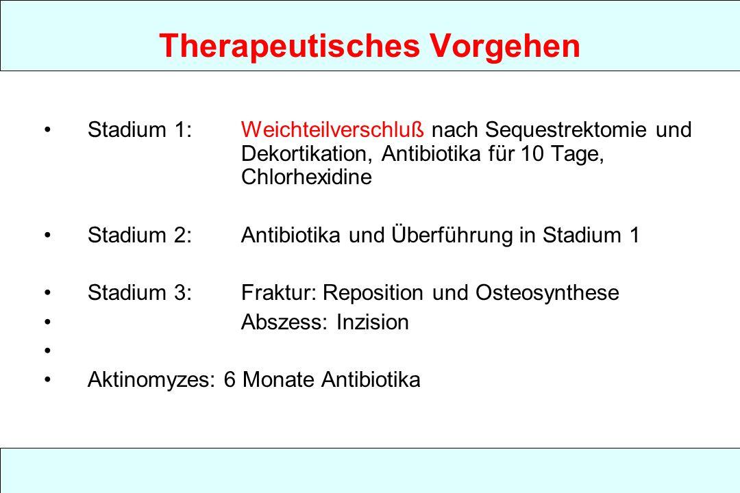 Therapeutisches Vorgehen Stadium 1: Weichteilverschluß nach Sequestrektomie und Dekortikation, Antibiotika für 10 Tage, Chlorhexidine Stadium 2: Antibiotika und Überführung in Stadium 1 Stadium 3:Fraktur: Reposition und Osteosynthese Abszess: Inzision Aktinomyzes: 6 Monate Antibiotika