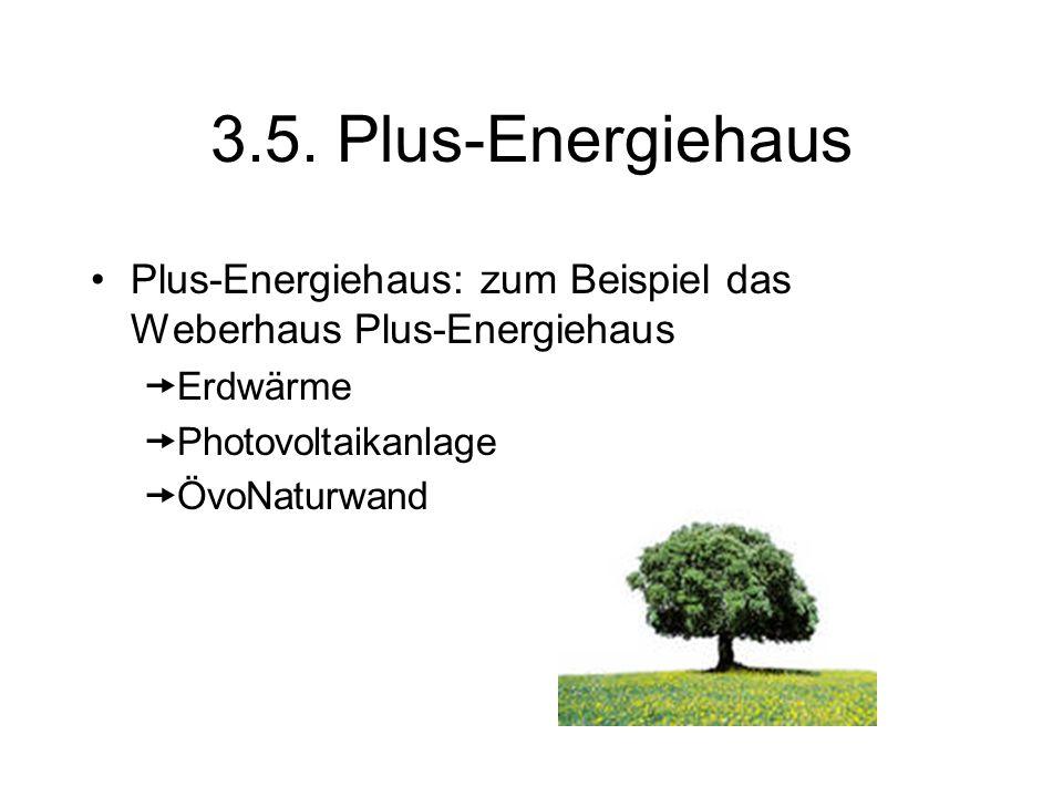 3.5. Plus-Energiehaus Plus-Energiehaus: zum Beispiel das Weberhaus Plus-Energiehaus Erdwärme Photovoltaikanlage ÖvoNaturwand