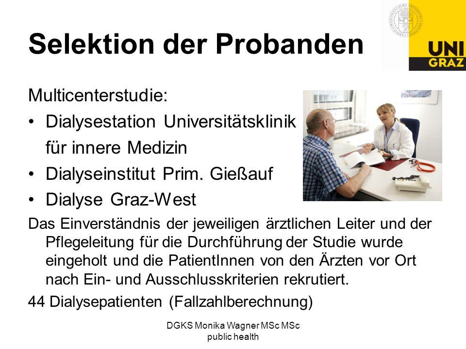 DGKS Monika Wagner MSc MSc public health Selektion der Probanden Multicenterstudie: Dialysestation Universitätsklinik für innere Medizin Dialyseinstit