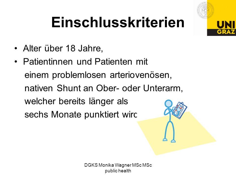DGKS Monika Wagner MSc MSc public health Einschlusskriterien Alter über 18 Jahre, Patientinnen und Patienten mit einem problemlosen arteriovenösen, na