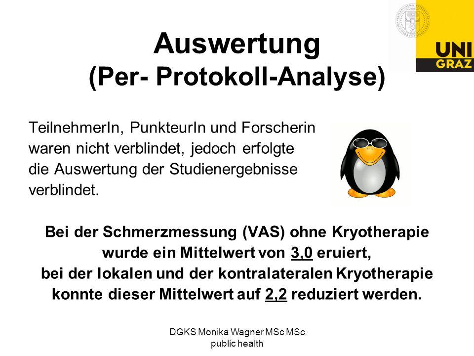 Auswertung (Per- Protokoll-Analyse) TeilnehmerIn, PunkteurIn und Forscherin waren nicht verblindet, jedoch erfolgte die Auswertung der Studienergebnis