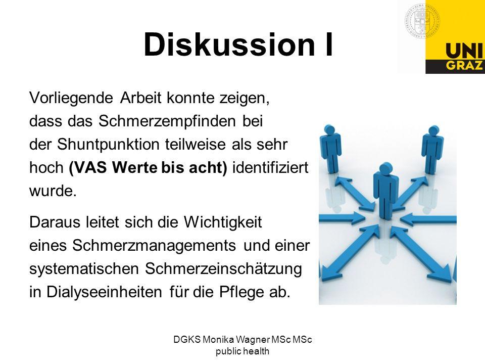 DGKS Monika Wagner MSc MSc public health Diskussion I Vorliegende Arbeit konnte zeigen, dass das Schmerzempfinden bei der Shuntpunktion teilweise als