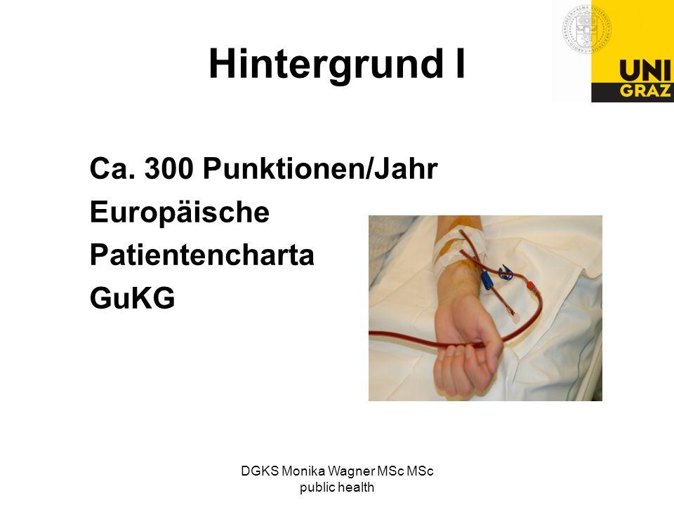 Hintergrund I Ca. 300 Punktionen/Jahr Europäische Patientencharta GuKG