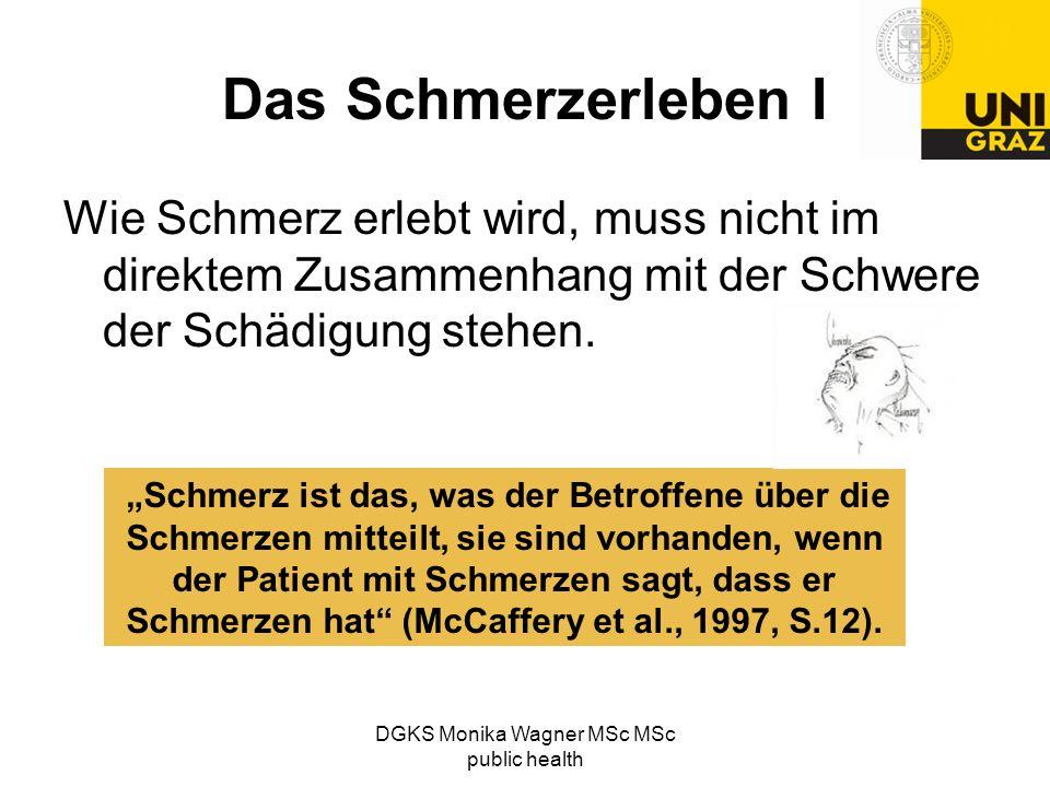 DGKS Monika Wagner MSc MSc public health Das Schmerzerleben I Wie Schmerz erlebt wird, muss nicht im direktem Zusammenhang mit der Schwere der Schädig
