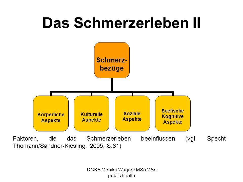 DGKS Monika Wagner MSc MSc public health Das Schmerzerleben II Schmerz- bezüge Körperliche Aspekte Kulturelle Aspekte Soziale Aspekte Seelische Kognit