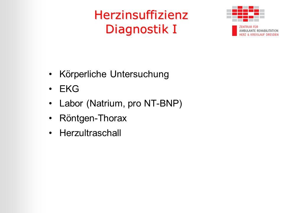 Herzinsuffizienz Diagnostik I Körperliche Untersuchung EKG Labor (Natrium, pro NT-BNP) Röntgen-Thorax Herzultraschall