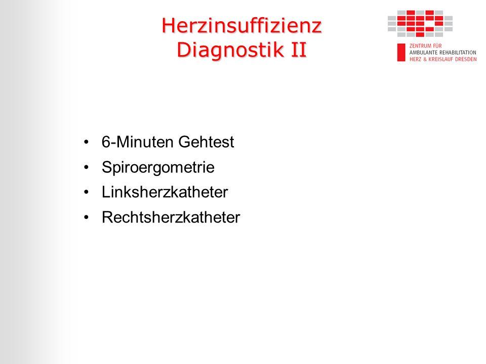 Herzinsuffizienz Diagnostik II 6-Minuten Gehtest Spiroergometrie Linksherzkatheter Rechtsherzkatheter