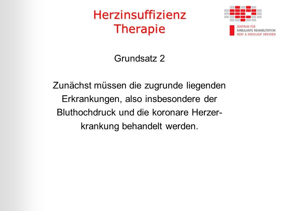 Herzinsuffizienz Therapie Grundsatz 2 Zunächst müssen die zugrunde liegenden Erkrankungen, also insbesondere der Bluthochdruck und die koronare Herzer