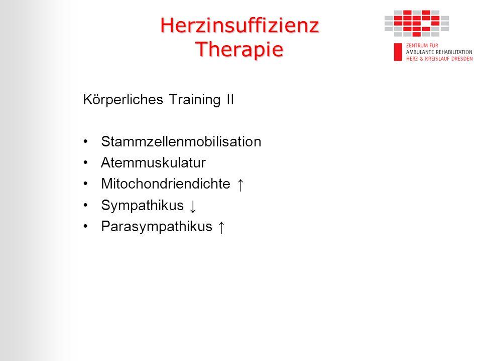 Herzinsuffizienz Therapie Körperliches Training II Stammzellenmobilisation Atemmuskulatur Mitochondriendichte Sympathikus Parasympathikus