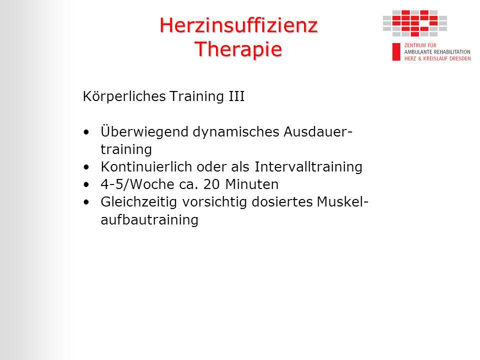 Herzinsuffizienz Therapie Körperliches Training III Überwiegend dynamisches Ausdauer- training Kontinuierlich oder als Intervalltraining 4-5/Woche ca.