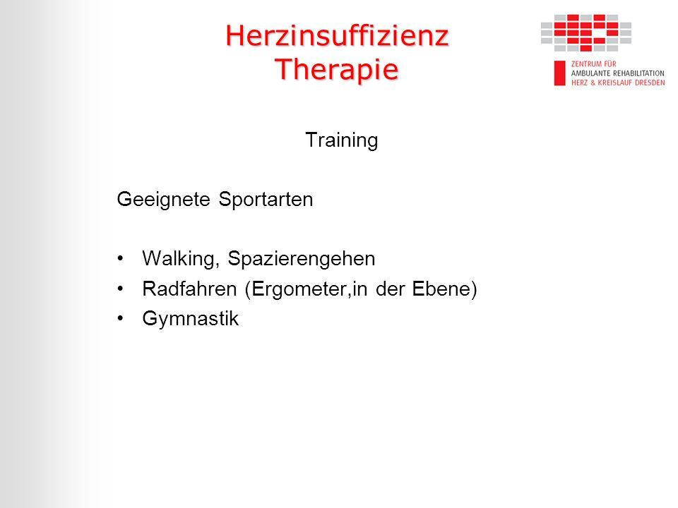 Herzinsuffizienz Therapie Training Geeignete Sportarten Walking, Spazierengehen Radfahren (Ergometer,in der Ebene) Gymnastik