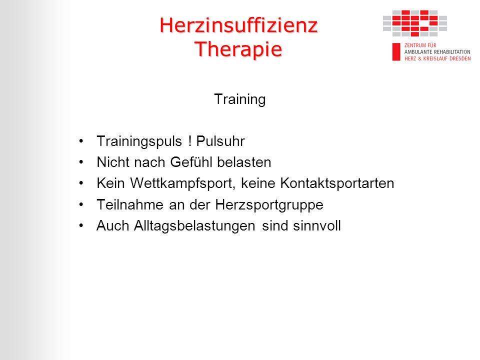Herzinsuffizienz Therapie Training Trainingspuls ! Pulsuhr Nicht nach Gefühl belasten Kein Wettkampfsport, keine Kontaktsportarten Teilnahme an der He