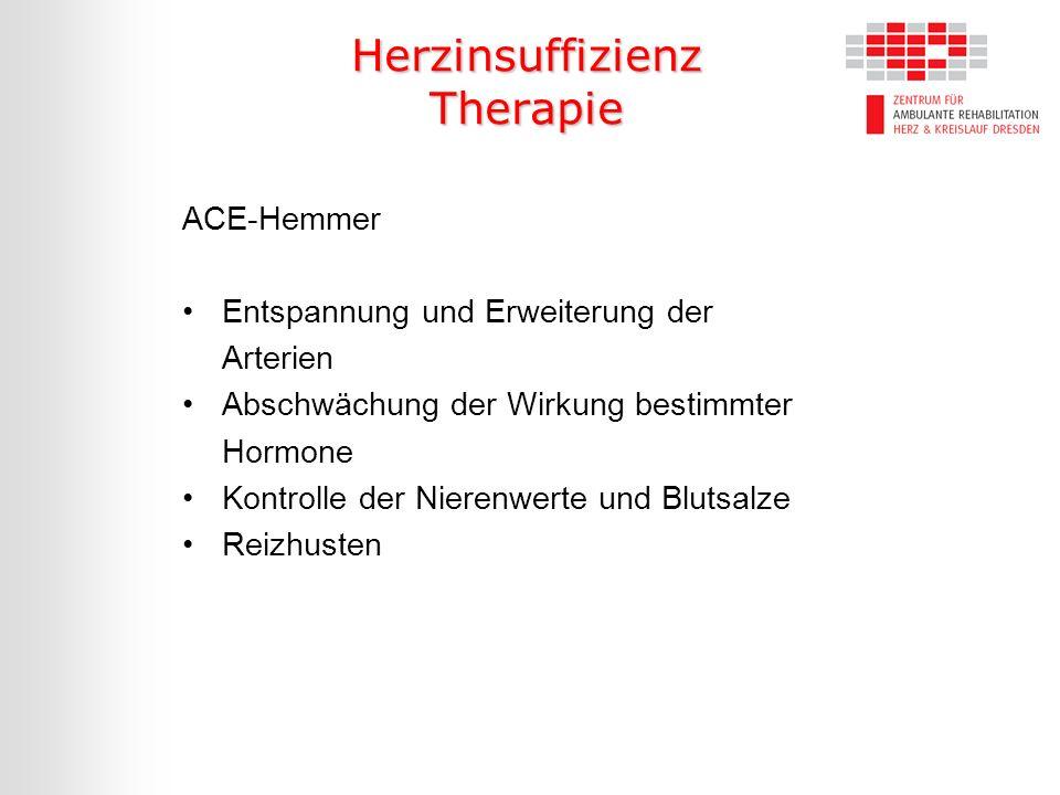 Herzinsuffizienz Therapie ACE-Hemmer Entspannung und Erweiterung der Arterien Abschwächung der Wirkung bestimmter Hormone Kontrolle der Nierenwerte un