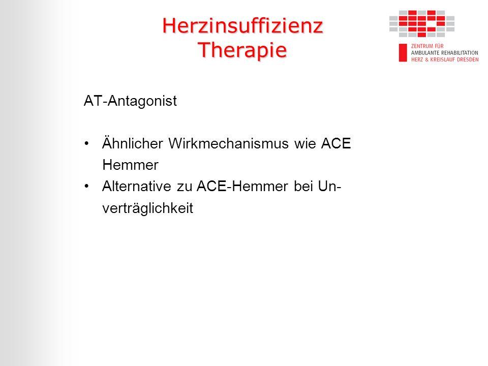 Herzinsuffizienz Therapie AT-Antagonist Ähnlicher Wirkmechanismus wie ACE Hemmer Alternative zu ACE-Hemmer bei Un- verträglichkeit