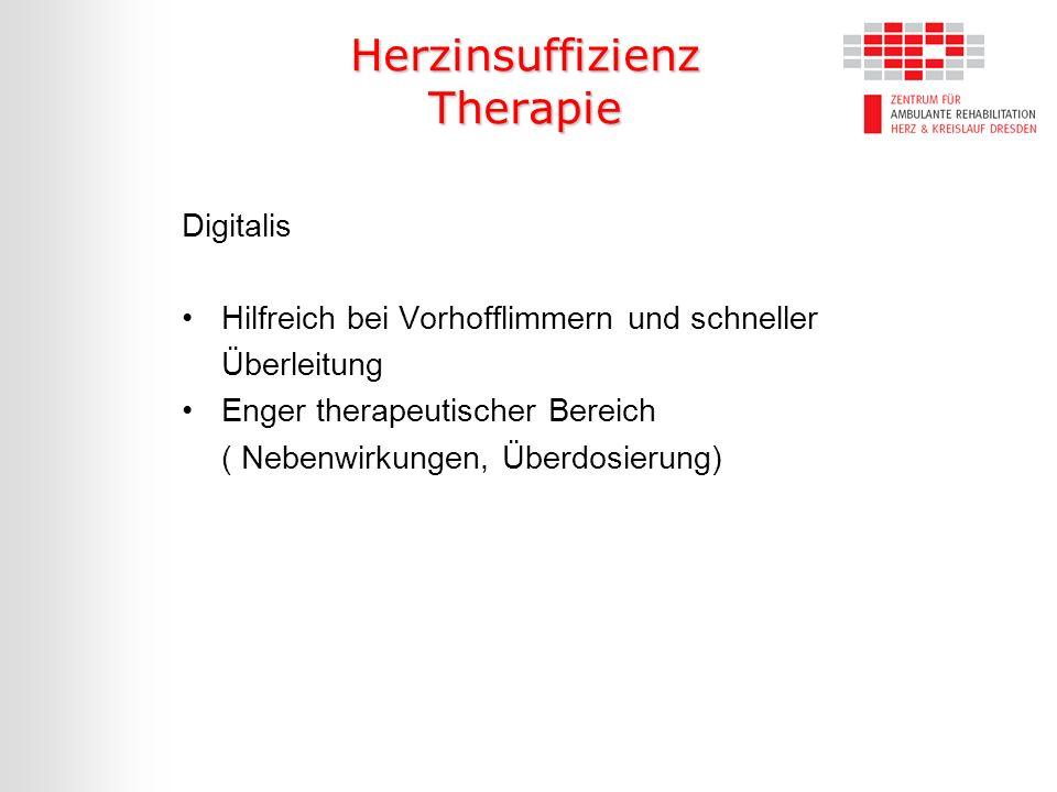 Herzinsuffizienz Therapie Digitalis Hilfreich bei Vorhofflimmern und schneller Überleitung Enger therapeutischer Bereich ( Nebenwirkungen, Überdosieru