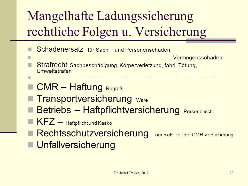 Dr. Josef Traxler, 201222 Mangelhafte Ladungssicherung rechtliche Folgen u. Versicherung Schadenersatz für Sach – und Personenschäden, Vermögensschäde