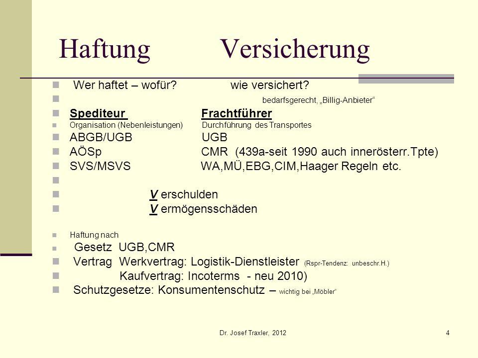 Dr. Josef Traxler, 20124 Haftung Versicherung Wer haftet – wofür? wie versichert? bedarfsgerecht, Billig-Anbieter Spediteur Frachtführer Organisation