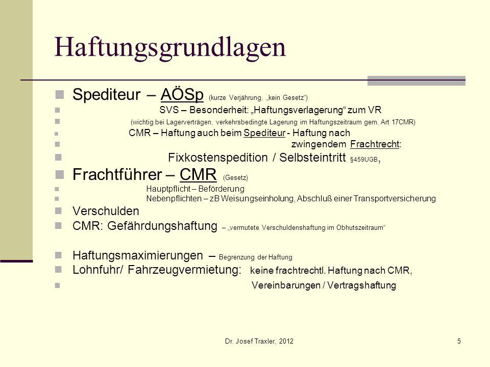 Dr. Josef Traxler, 20125 Haftungsgrundlagen Spediteur – AÖSp (kurze Verjährung, kein Gesetz) SVS – Besonderheit: Haftungsverlagerung zum VR (wichtig b