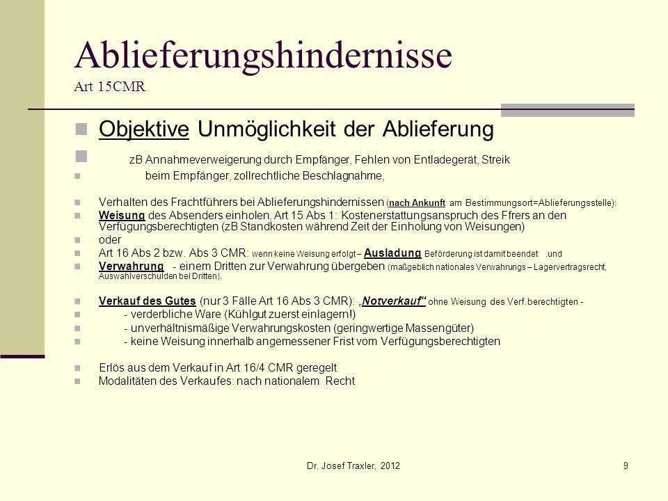 Dr. Josef Traxler, 20129 Ablieferungshindernisse Art 15CMR Objektive Unmöglichkeit der Ablieferung zB Annahmeverweigerung durch Empfänger, Fehlen von
