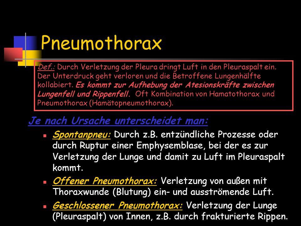 Pneumothorax Je nach Ursache unterscheidet man: Spontanpneu: Durch z.B. entzündliche Prozesse oder durch Ruptur einer Emphysemblase, bei der es zur Ve