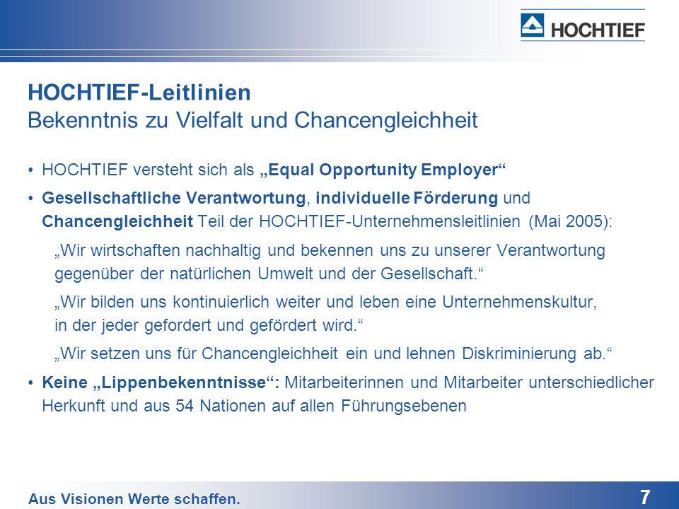 7 Aus Visionen Werte schaffen. HOCHTIEF-Leitlinien Bekenntnis zu Vielfalt und Chancengleichheit HOCHTIEF versteht sich als Equal Opportunity Employer