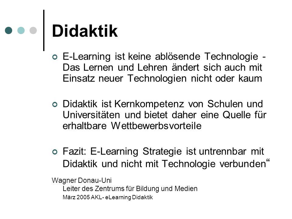 Didaktik E-Learning ist keine ablösende Technologie - Das Lernen und Lehren ändert sich auch mit Einsatz neuer Technologien nicht oder kaum Didaktik ist Kernkompetenz von Schulen und Universitäten und bietet daher eine Quelle für erhaltbare Wettbewerbsvorteile Fazit: E-Learning Strategie ist untrennbar mit Didaktik und nicht mit Technologie verbunden Wagner Donau-Uni Leiter des Zentrums für Bildung und Medien März 2005 AKL- eLearning Didaktik
