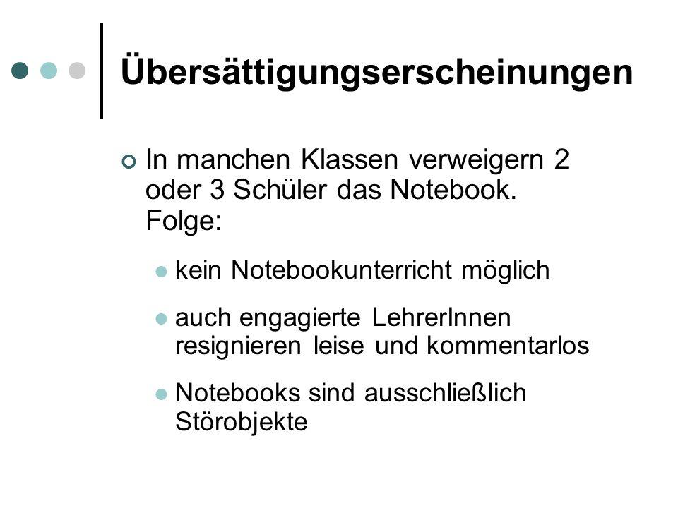 Übersättigungserscheinungen In manchen Klassen verweigern 2 oder 3 Schüler das Notebook.