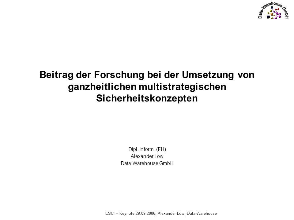 ESCI – Keynote,29.09.2006, Alexander Löw, Data-Warehouse Beitrag der Forschung Die Forschung und Ausbildung muss zusätzlich zum Spezialwissen, übergreifende Themen angehen, um den zukünftigen Führungskräften Methoden zur Bewältigung der Aufgaben zur Hand zu geben.