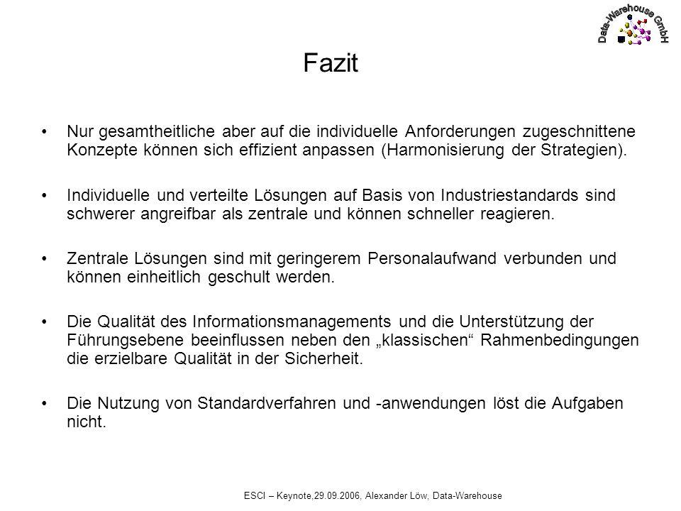 ESCI – Keynote,29.09.2006, Alexander Löw, Data-Warehouse Fazit Nur gesamtheitliche aber auf die individuelle Anforderungen zugeschnittene Konzepte kön