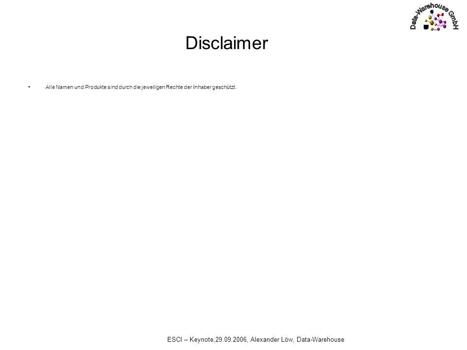 ESCI – Keynote,29.09.2006, Alexander Löw, Data-Warehouse Disclaimer Alle Namen und Produkte sind durch die jeweiligen Rechte der Inhaber geschützt.