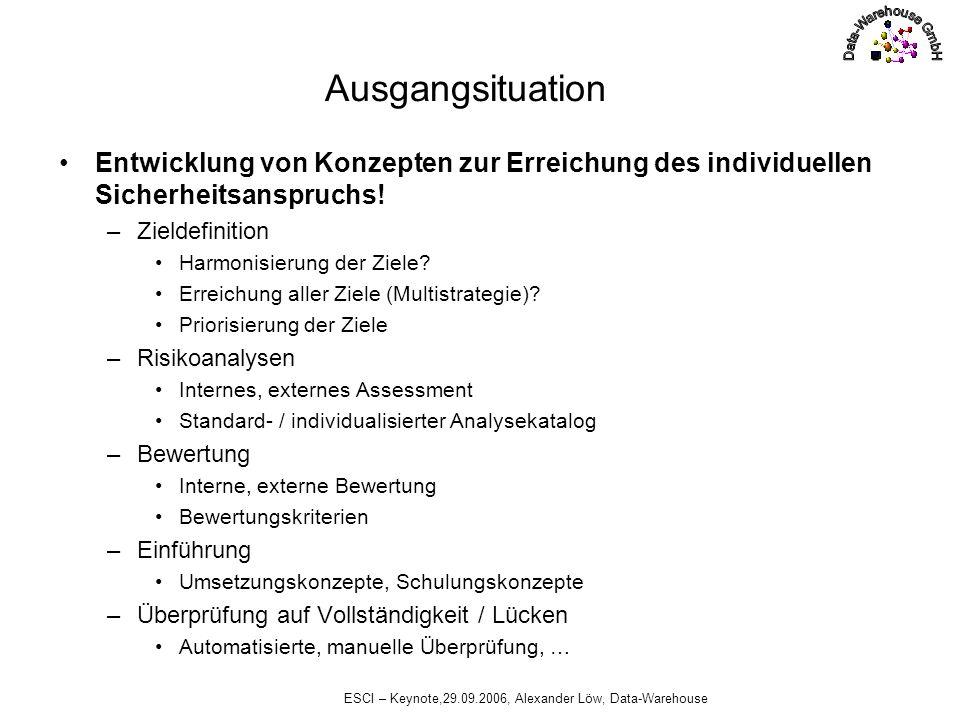 ESCI – Keynote,29.09.2006, Alexander Löw, Data-Warehouse Ausgangsituation Entwicklung von Konzepten zur Erreichung des individuellen Sicherheitsanspru