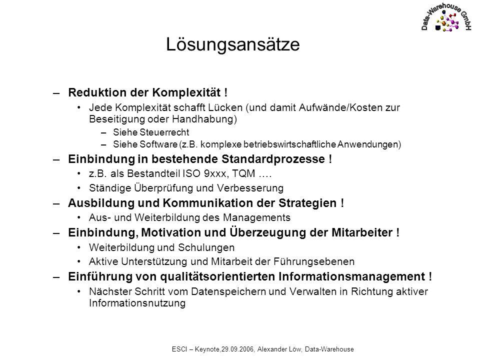 ESCI – Keynote,29.09.2006, Alexander Löw, Data-Warehouse Lösungsansätze Unterschiedliche Auswirkungen von eingesetzten Philosophien –Zentrale Organisation (ein Angriffspunkt, gesamtes Risiko zentralisiert, hohe Komplexität je Knoten) Z.B.