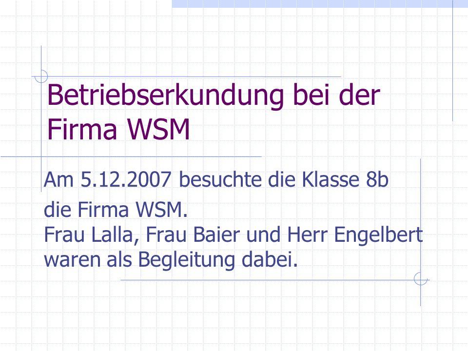 Betriebserkundung bei der Firma WSM Am 5.12.2007 besuchte die Klasse 8b die Firma WSM. Frau Lalla, Frau Baier und Herr Engelbert waren als Begleitung