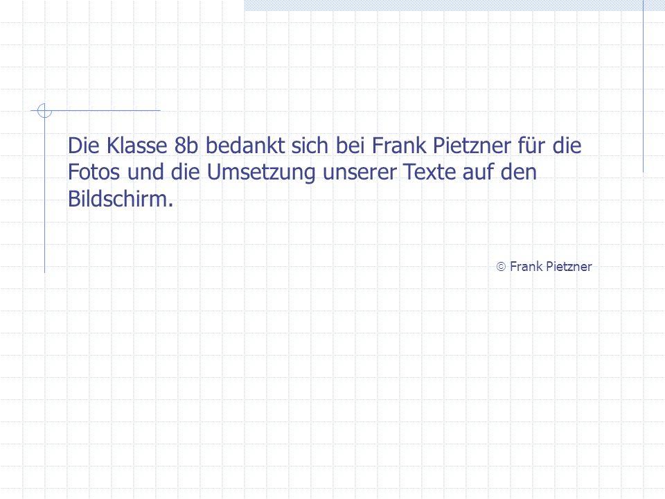 Die Klasse 8b bedankt sich bei Frank Pietzner für die Fotos und die Umsetzung unserer Texte auf den Bildschirm. Frank Pietzner