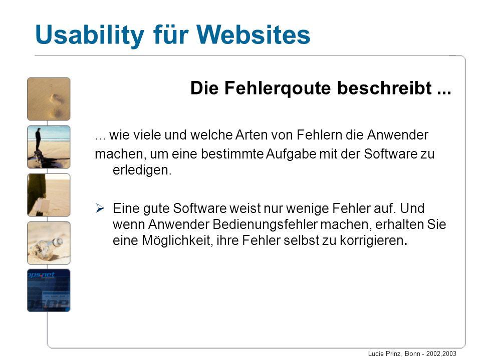 Lucie Prinz, Bonn - 2002,2003 Usability für Websites Die Fehlerqoute beschreibt...... wie viele und welche Arten von Fehlern die Anwender machen, um e