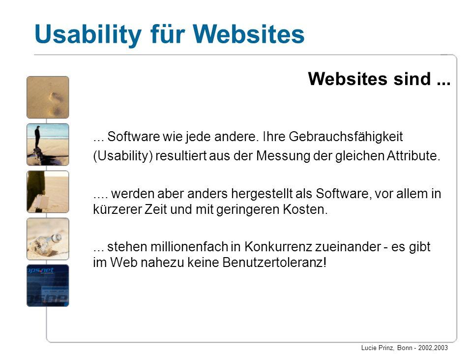 Lucie Prinz, Bonn - 2002,2003 Usability für Websites... Software wie jede andere. Ihre Gebrauchsfähigkeit (Usability) resultiert aus der Messung der g