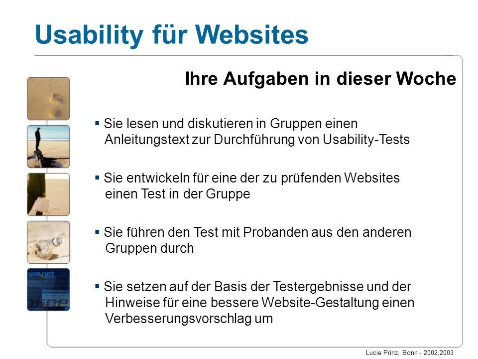 Lucie Prinz, Bonn - 2002,2003 Usability für Websites Sie lesen und diskutieren in Gruppen einen Anleitungstext zur Durchführung von Usability-Tests Si