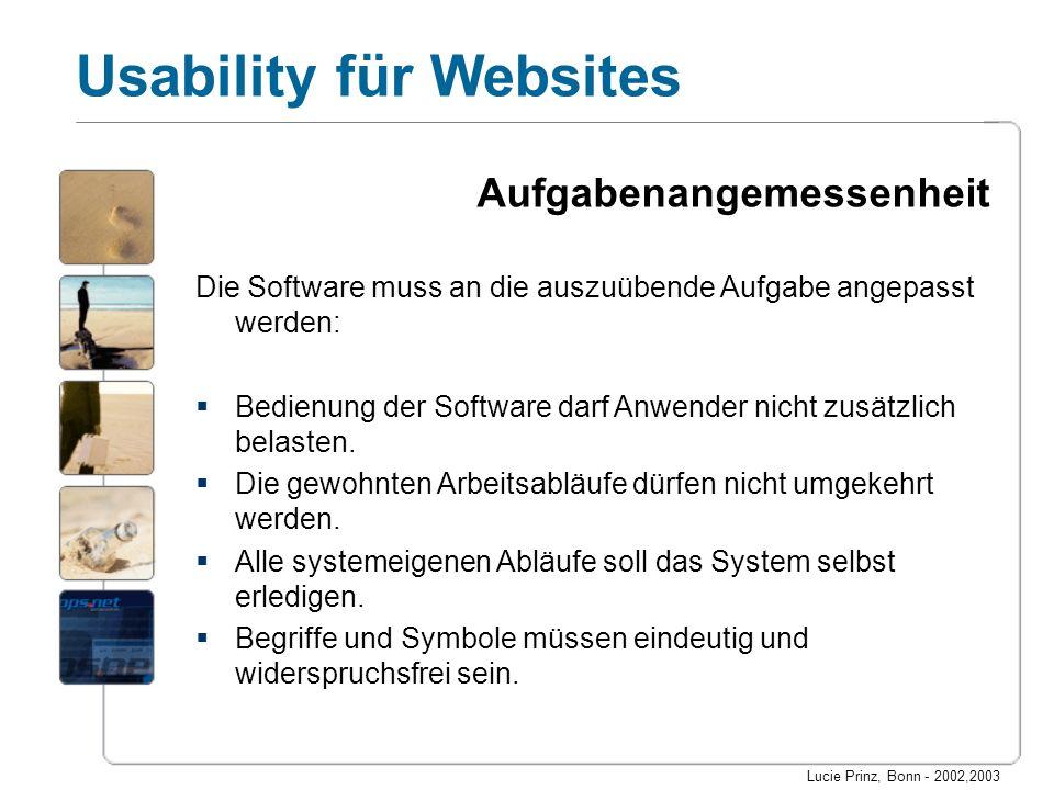 Lucie Prinz, Bonn - 2002,2003 Usability für Websites Selbstbeschreibungsfähigkeit Die Software muss sich möglichst intuitiv bedienen lassen: Es müssen ein Überblick über das Funktionsangebot (z.B.