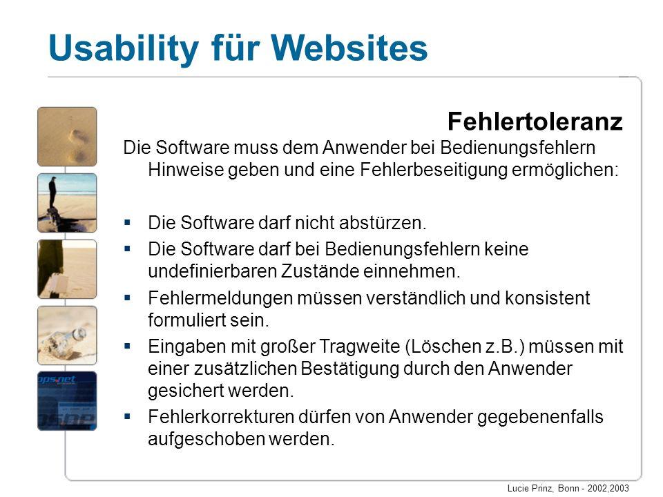 Lucie Prinz, Bonn - 2002,2003 Usability für Websites Fehlertoleranz Die Software muss dem Anwender bei Bedienungsfehlern Hinweise geben und eine Fehle
