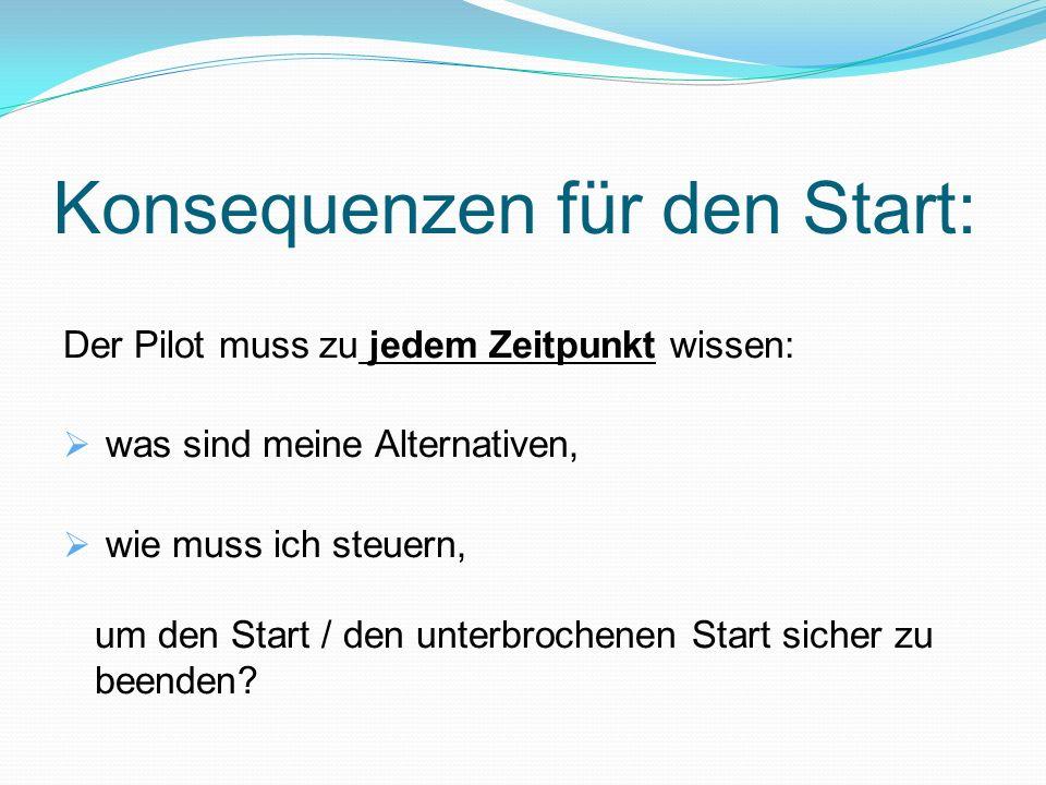 Konsequenzen für den Start: Der Pilot muss zu jedem Zeitpunkt wissen: was sind meine Alternativen, wie muss ich steuern, um den Start / den unterbrochenen Start sicher zu beenden?
