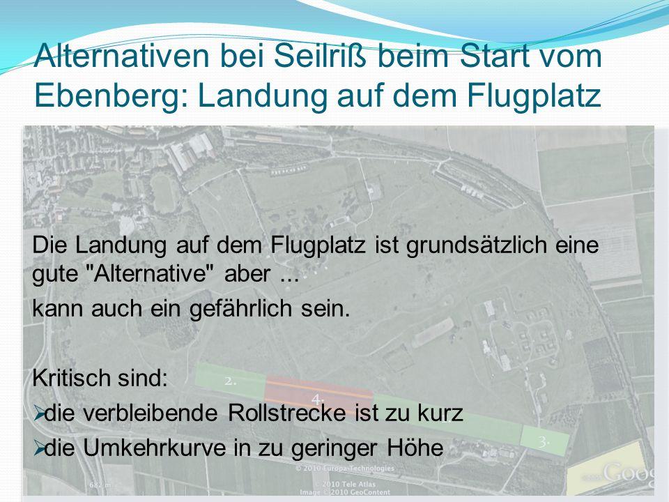 Alternativen bei Seilriß beim Start vom Ebenberg: Landung auf dem Flugplatz 4.