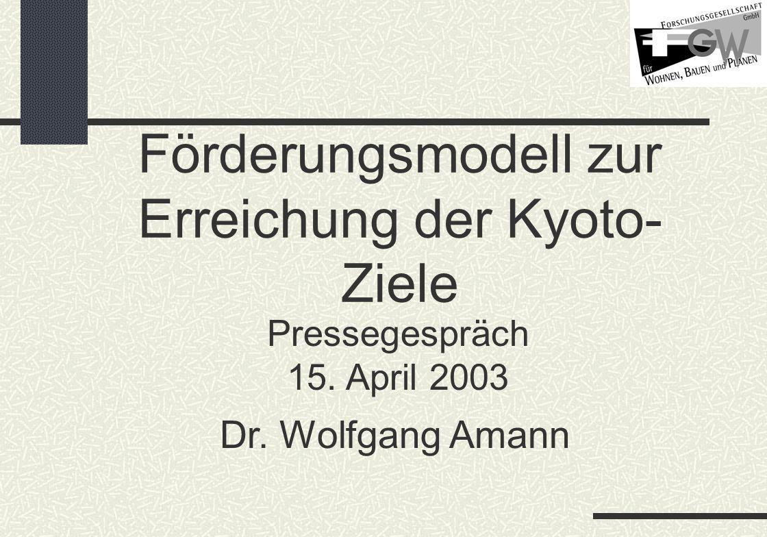 Förderungsmodell zur Erreichung der Kyoto- Ziele Pressegespräch 15. April 2003 Dr. Wolfgang Amann