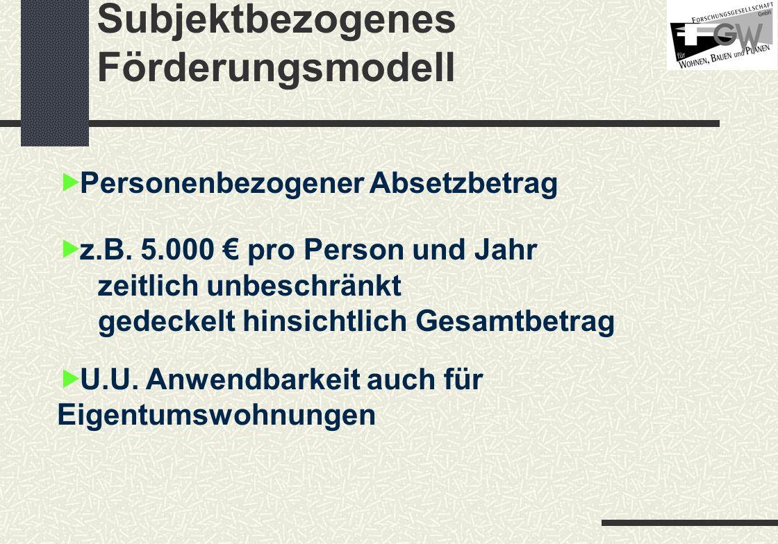Subjektbezogenes Förderungsmodell Personenbezogener Absetzbetrag U.U.