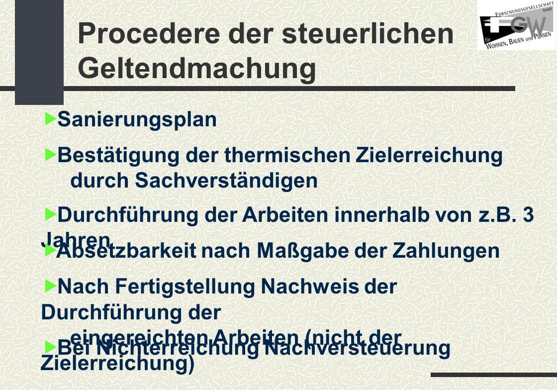 Procedere der steuerlichen Geltendmachung Sanierungsplan Bestätigung der thermischen Zielerreichung durch Sachverständigen Durchführung der Arbeiten innerhalb von z.B.