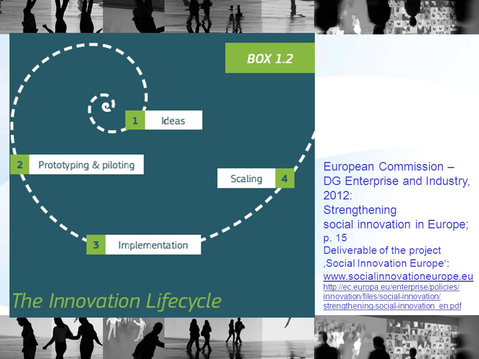 European Commission – DG Enterprise and Industry, 2012: Strengthening social innovation in Europe; p. 15 Deliverable of the project Social Innovation